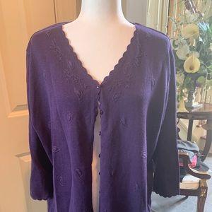 Kathie Lee Purple Embroidered Sweater Sz 18/20 W